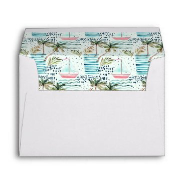 Watercolor Sailboat with Palm Tree Pattern Envelope