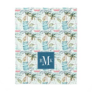 Watercolor Sailboat with Palm Tree Pattern Fleece Blanket