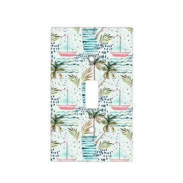 Watercolor Sailboat with Palm Tree Pattern Light Switch Cover