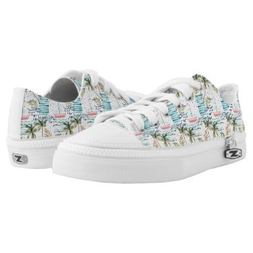 Watercolor Sailboat with Palm Tree Pattern Low-Top Sneakers