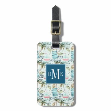 Watercolor Sailboat with Palm Tree Pattern Luggage Tag