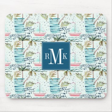 Watercolor Sailboat with Palm Tree Pattern Mouse Pad