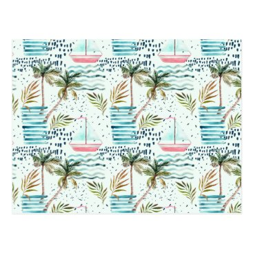 Watercolor Sailboat with Palm Tree Pattern Postcard