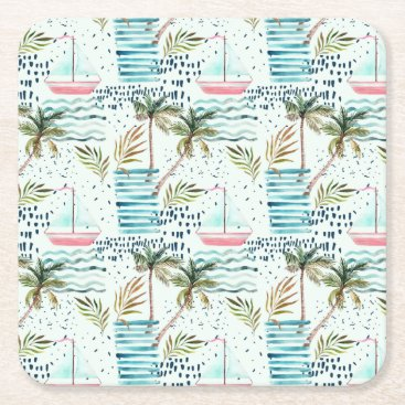 Watercolor Sailboat with Palm Tree Pattern Square Paper Coaster