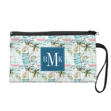 Watercolor Sailboat with Palm Tree Pattern Wristlet