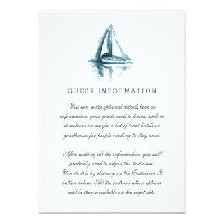 Watercolor Sailing Boat Wedding Insert Card