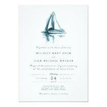 Watercolor Sailing Boat Wedding Invitation