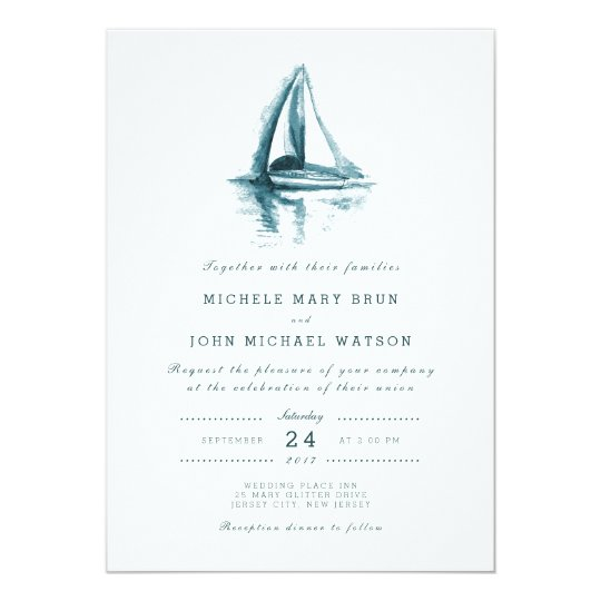 Watercolor Sailing Boat Wedding Invitation