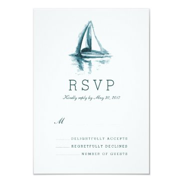 pinkpinetree Watercolor Sailing Boat Wedding Response RSVP Card