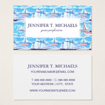Beach Themed Watercolor Sailing Ships Pattern Business Card