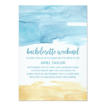Beach Themed Watercolor Sand and Sea Bachelorette Weekend Card