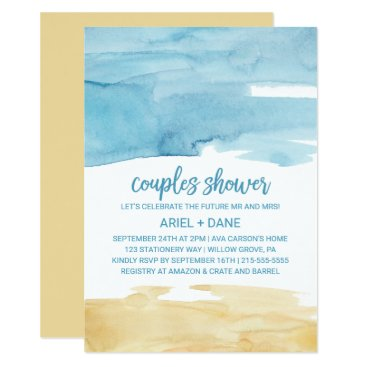 Beach Themed Watercolor Sand and Sea Couples Shower Card