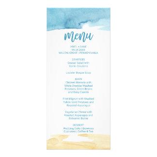 Watercolor Sand and Sea Dinner Menu Card