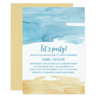 Watercolor Sand and Sea Let's Party Card
