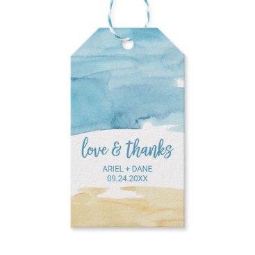 """Beach Themed Watercolor Sand and Sea """"Love & Thanks"""" Gift Tags"""
