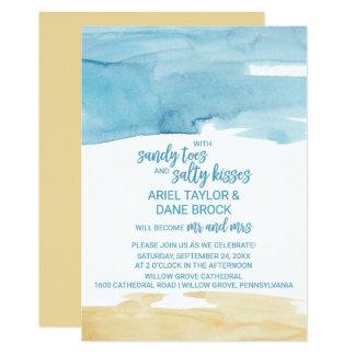 Watercolor Sand and Sea Salty Kisses Wedding Invitation