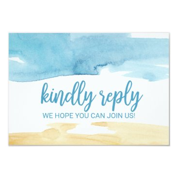 Beach Themed Watercolor Sand and Sea Song Request RSVP Card