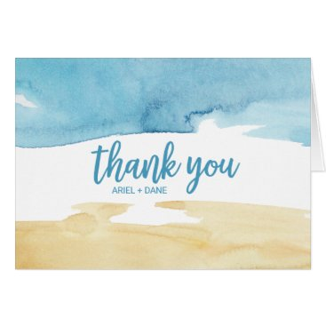 Beach Themed Watercolor Sand and Sea Thank You Card