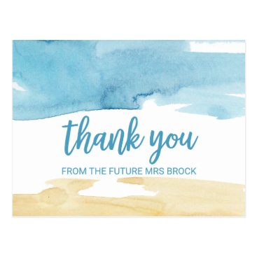 Beach Themed Watercolor Sand and Sea Thank You Postcard