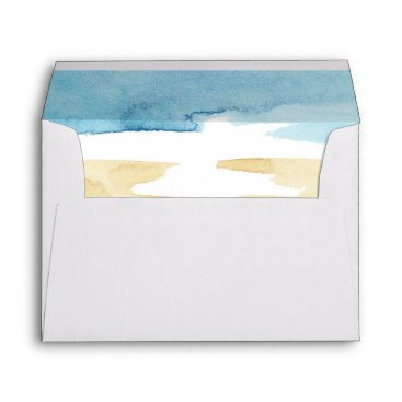 Beach Themed Watercolor Sand and Sea Wedding Envelope