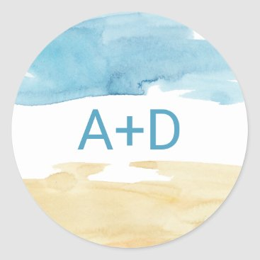 Beach Themed Watercolor Sand and Sea Wedding Envelope Seals