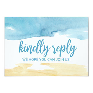 Watercolor Sand and Sea Wedding Website RSVP Card