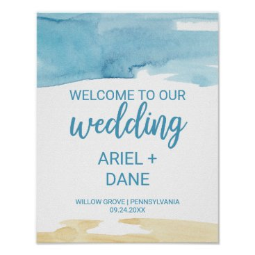 Beach Themed Watercolor Sand and Sea Wedding Welcome Poster