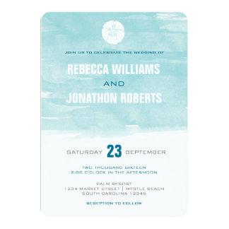 """Watercolor Sand Dollar Invitation - round corners 5"""" X 7"""" Invitation Card"""