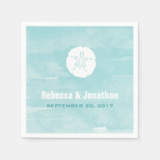 Watercolor Sand Dollar Reception Napkins