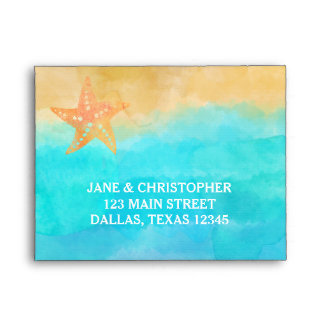 Watercolor Sand Turquoise & Starfish RSVP Envelope