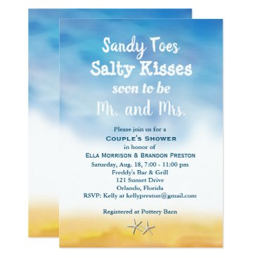 Beach Themed Watercolor Sandy Toes Couple's Shower - sky & sand Card