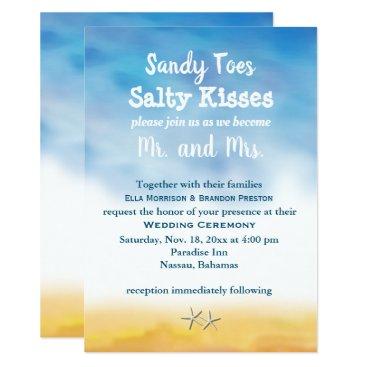 Beach Themed Watercolor Sandy Toes Wedding Invite - sky & sand