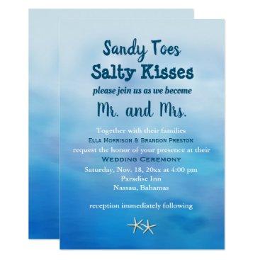 Beach Themed Watercolor Sandy Toes Wedding Invite starfish