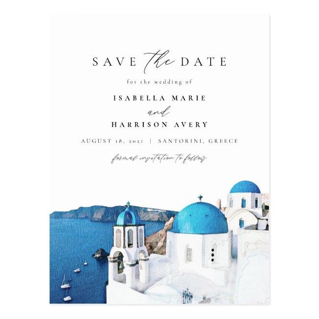 Watercolor Santorini Greece Skyline Save the Date Postcard