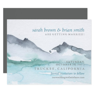 Watercolor Save the Date Mountainside Lake Card