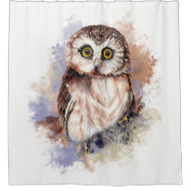 Watercolor Saw Whet Owl Bird Animal Art Shower Curtain