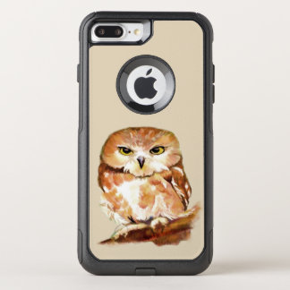 Watercolor Saw Whet Owl Bird Nature art OtterBox Commuter iPhone 8 Plus/7 Plus Case