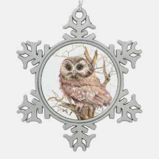 Watercolor Saw Whet Owl Bird Nature Art Snowflake Pewter Christmas Ornament
