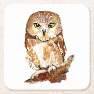 Watercolor Saw Whet Owl Cute Bird Nature Art Square Paper Coaster