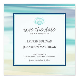 Watercolor Scalloped Shell Save the Date Personalized Invitations