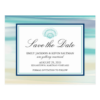 Watercolor Scalloped Shell Save the Date Postcard