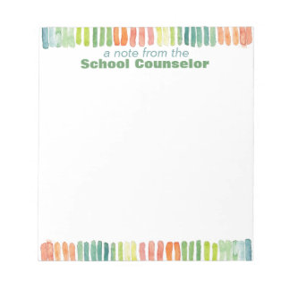 Watercolor School Counselor Note Pad