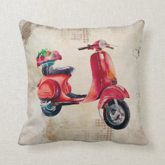 Watercolor Scooter in Red With Flowers On The Back Throw Pillow