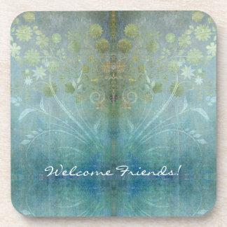 Watercolor Scroll Swirl Modern Flowers Textured Coaster