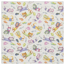 Watercolor Scuba Diving Cats Pattern Fabric