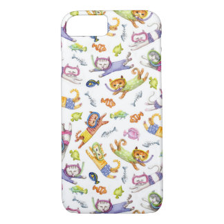 Watercolor Scuba Diving Cats Pattern iPhone 7 Case