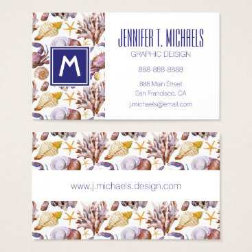 Beach Themed Watercolor Sea Life Pattern Business Card