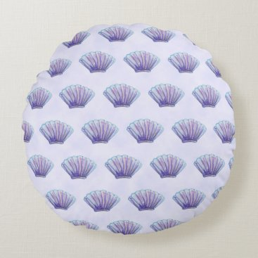 Beach Themed WATERCOLOR SEA SHELL PATTERN, Lavender Round Pillow