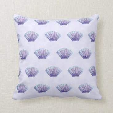Beach Themed WATERCOLOR SEA SHELL PATTERN, Lavender Throw Pillow