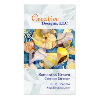 Watercolor Sea Shells Designer Business Cards